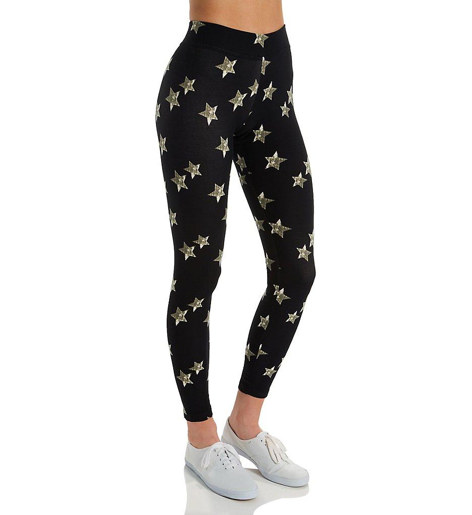 Hue 20483 Printed Lightweight Leggings (Black Distressed Star)