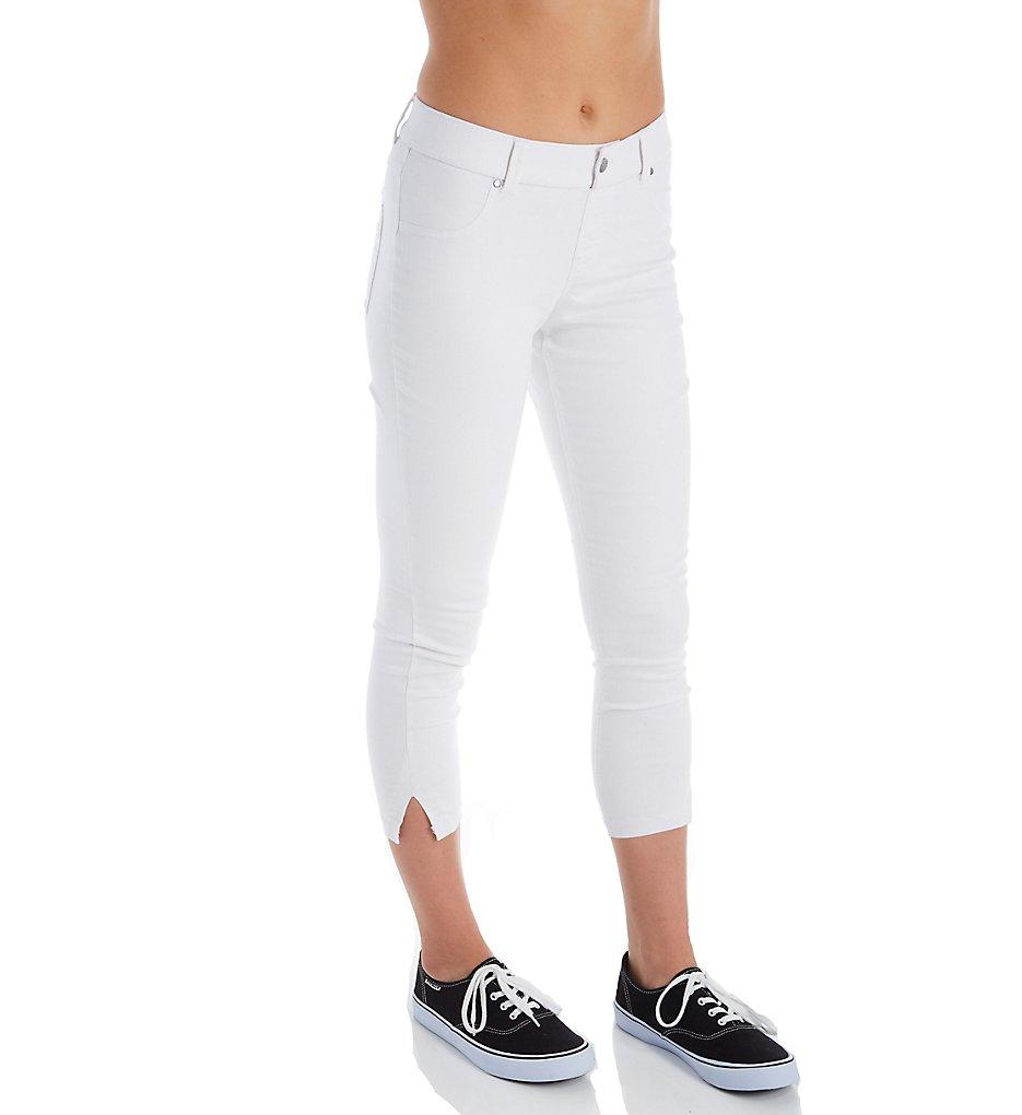 Hue 20487 Ultra Soft Denim Capri Leggings with Side Slits (White)