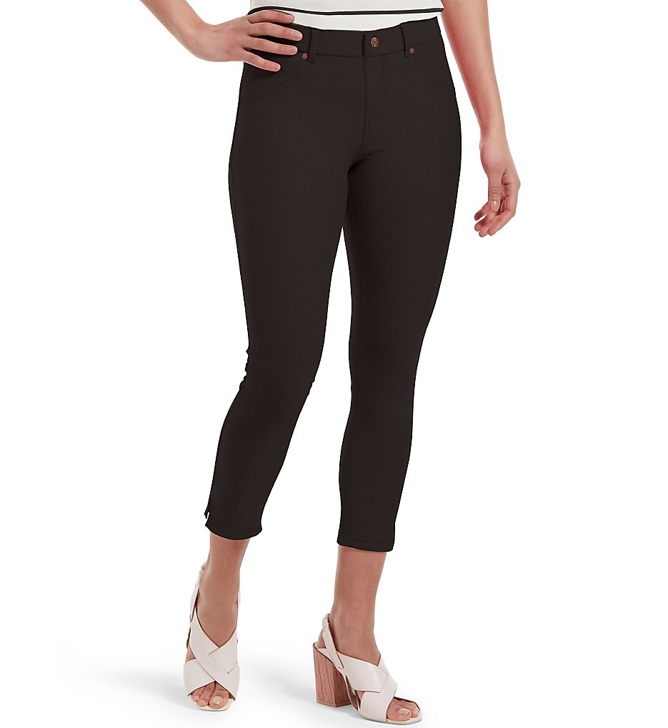 Hue 20508 Essential Denim Ankle Slit Capri Legging (Black)
