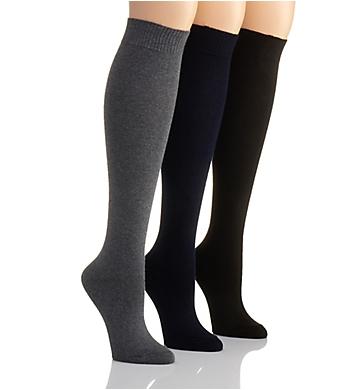 Hue Flat Knit Knee High Sock - 3 Pack