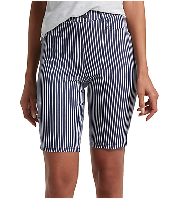 Hue Striped Ultra Soft Denim High Waist Bermuda Shorts