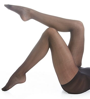 Hue Herringbone Sheer Tights with Control Top