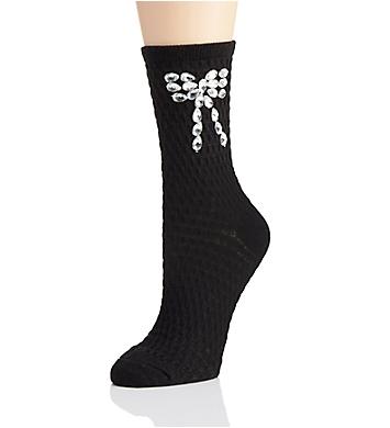 Hue Rhinestone Bow Sock