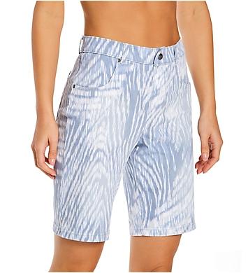 Hue Ikat Zebra Split Hem Denim High Rise Shorts