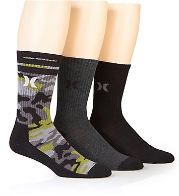 Hurley Half Terry Crew Assorted Camo Crew Socks - 3 Pack
