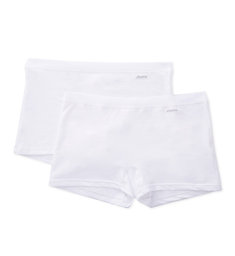 Janira - Janira 31671 Essential Cotton Boyshort Panty - 2 Pack (White S)
