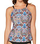 Vibrant Paisley High Neck Tankini Swim Top