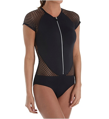 Jantzen Mesh Solids Zip Front High Neck One Piece Swimsuit
