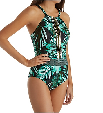 Jantzen Leafy Tropical Tummy Control One Piece Swimsuit