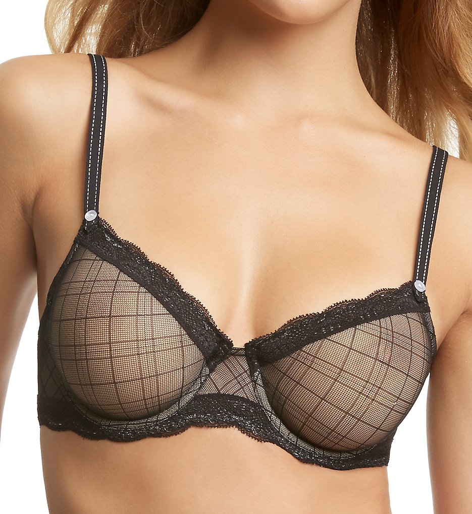 Jezebel : Jezebel 10027 Marni Diamond Mesh Unlined Bra (Black 34B)