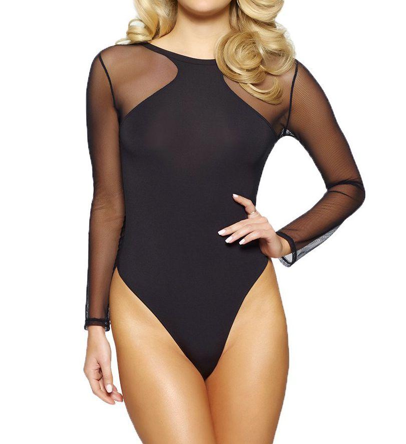 Jezebel Kirsten Modal Bodysuit with Tulle Thong Back