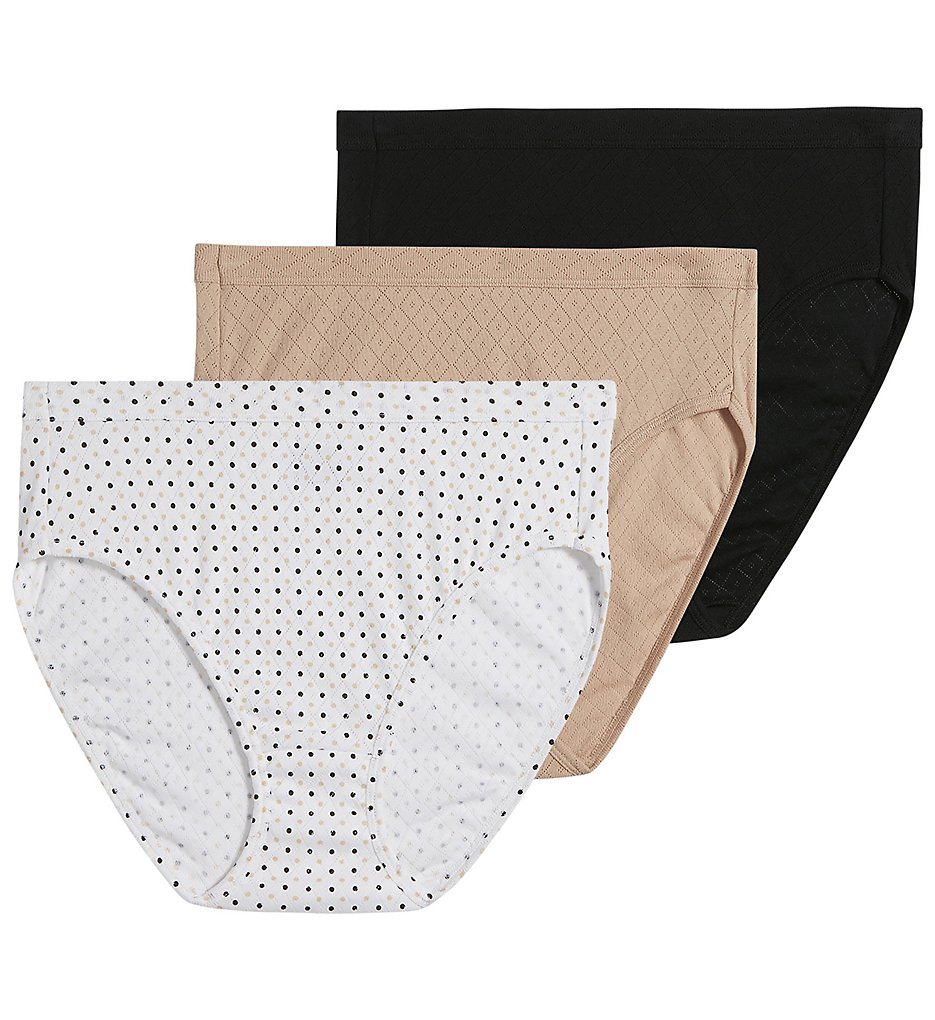 Jockey >> Jockey 1541 Elance Breathe French Cut Panty - 3 Pack (Light/Dot/Black 6)