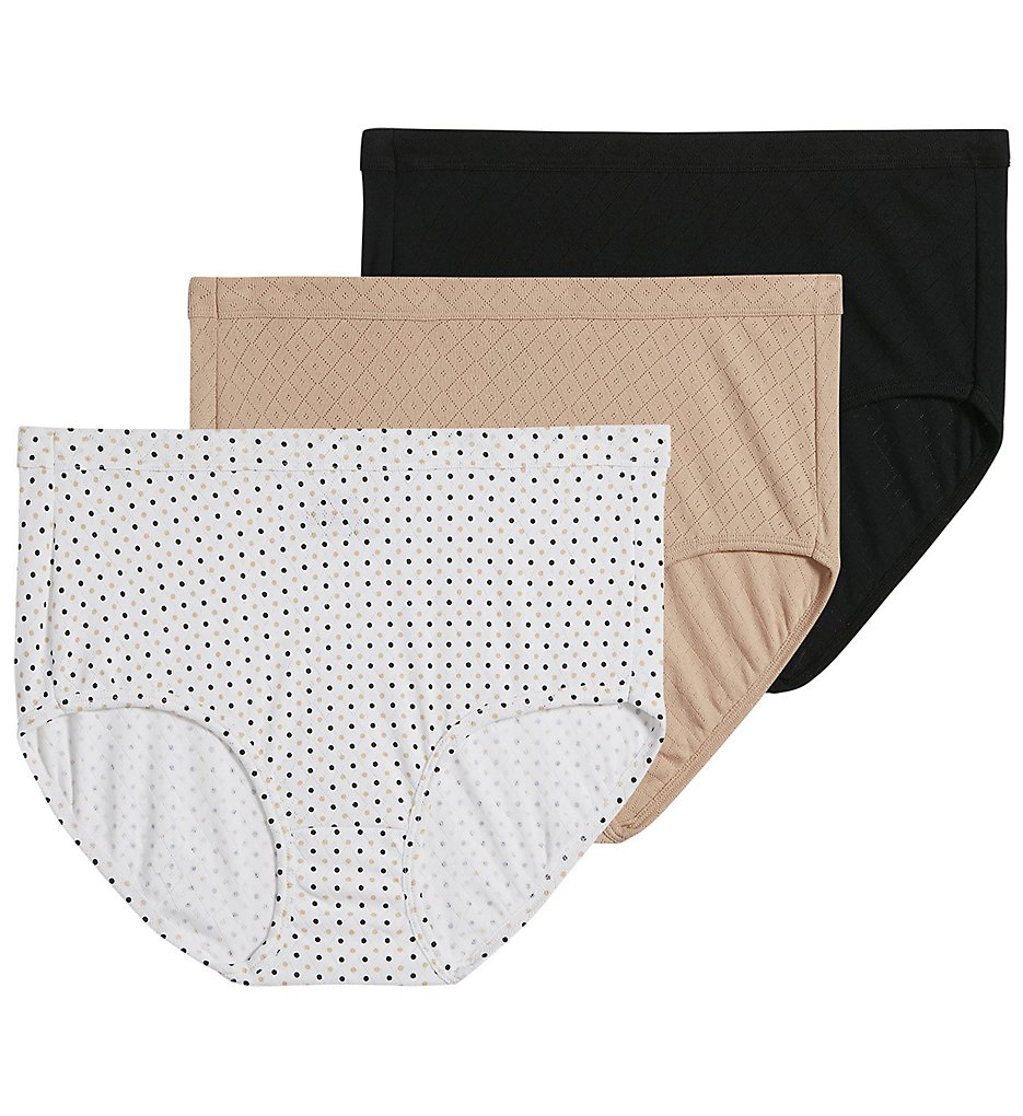 Jockey >> Jockey 1542 Elance Breathe Brief Panty- 3 Pack (Light/Dot/Black 6)