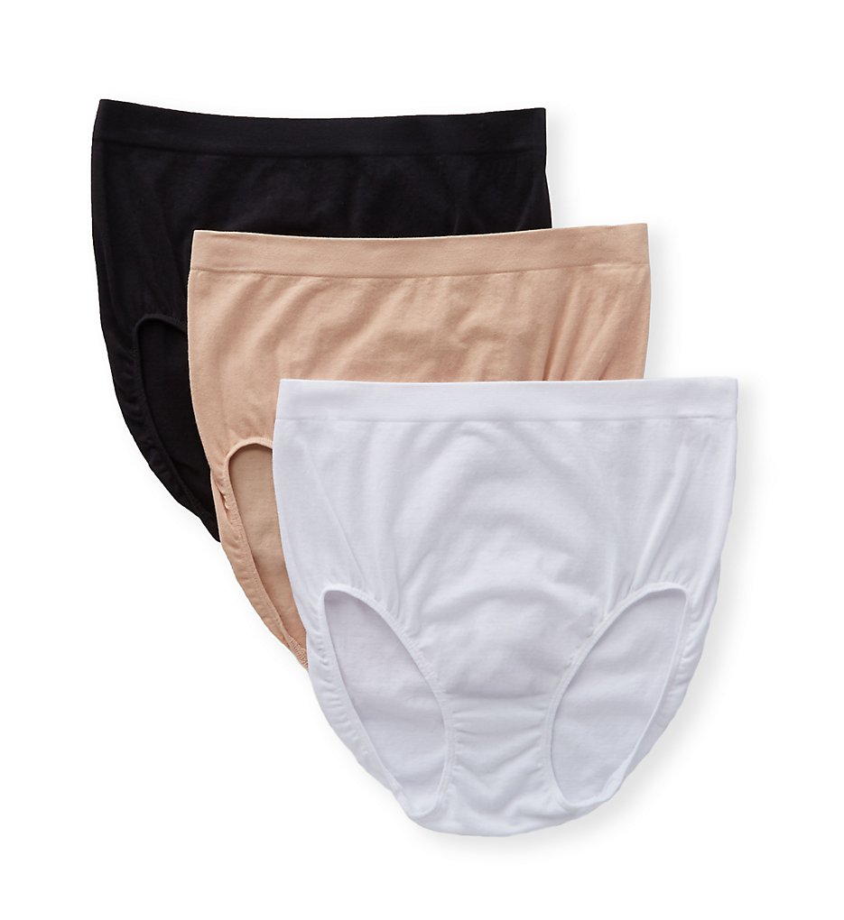 Jockey : Jockey 1681 Seamfree Breathe Brief Panty - 3 Pack (White/Light/Black 5)