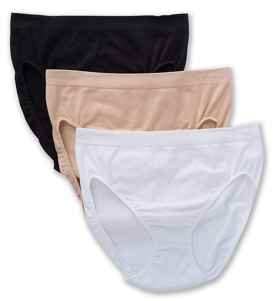 Jockey >> Jockey 1684 Seamfree Breathe French Cut Panty - 3 Pack (White/Light/Black 5)
