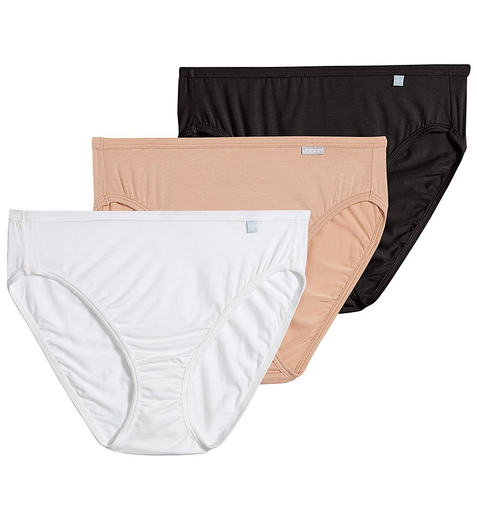 Jockey : Jockey 2071 Elance Supersoft Classic French Cut Panty - 3 Pack (Black/Light/Ivory 5)