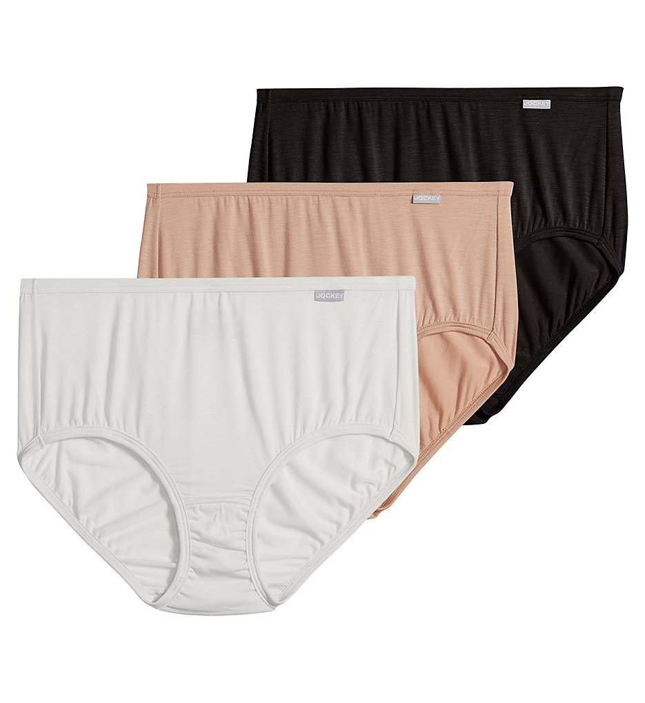 Jockey >> Jockey 2073 Elance Supersoft Classic Brief Panty - 3 Pack (Black/Light/Ivory 5)