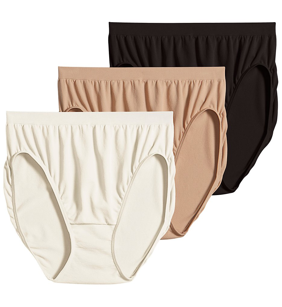 Jockey - Jockey 3326 Comfies Microfiber Classic French Panty - 3 Pack (Ivory/Black/Light 5)