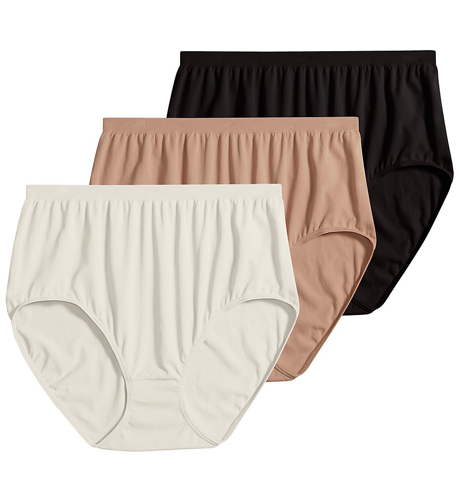 Jockey : Jockey 3328 Comfies Microfiber Classic Brief Panty - 3 Pack (Ivory/Black/Light 5)
