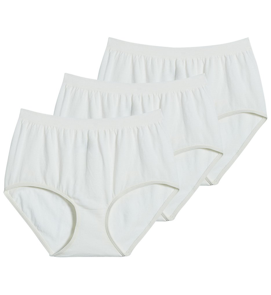 Jockey >> Jockey 3348 Comfies Cotton Classic Fit Brief Panty - 3 Pack (Ivory/Ivory/Ivory 5)