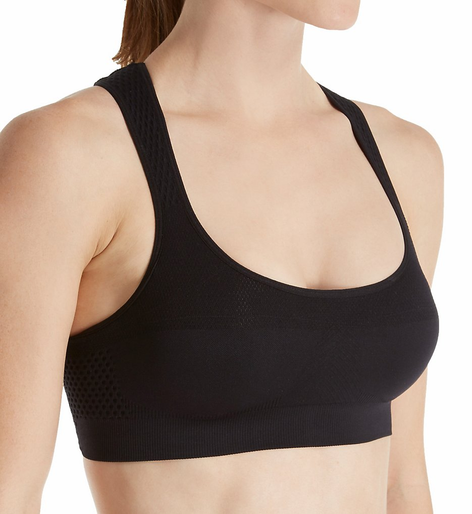 Jockey : Jockey 7786 Performance Push Up Seamless Sports Bra (Deep Black S)