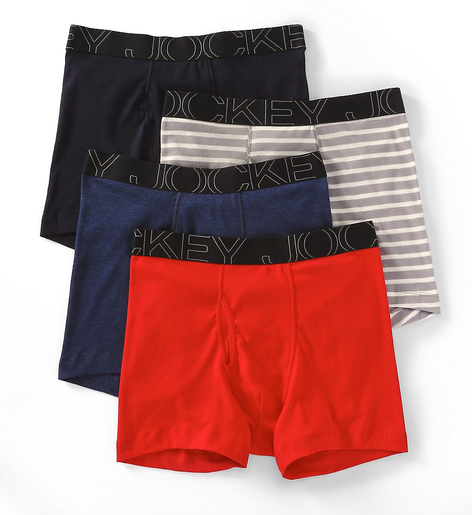 jockey 9040 active blend full cut cotton boxer briefs - 4 pack (blue/red/grey stripe xl)