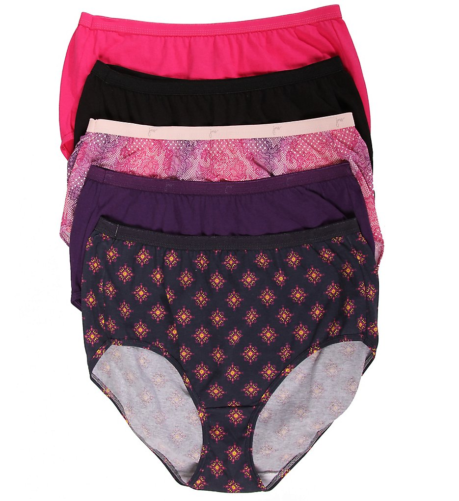 Just My Size 1610 Plus Size Cotton Brief Panty - 5 Pack
