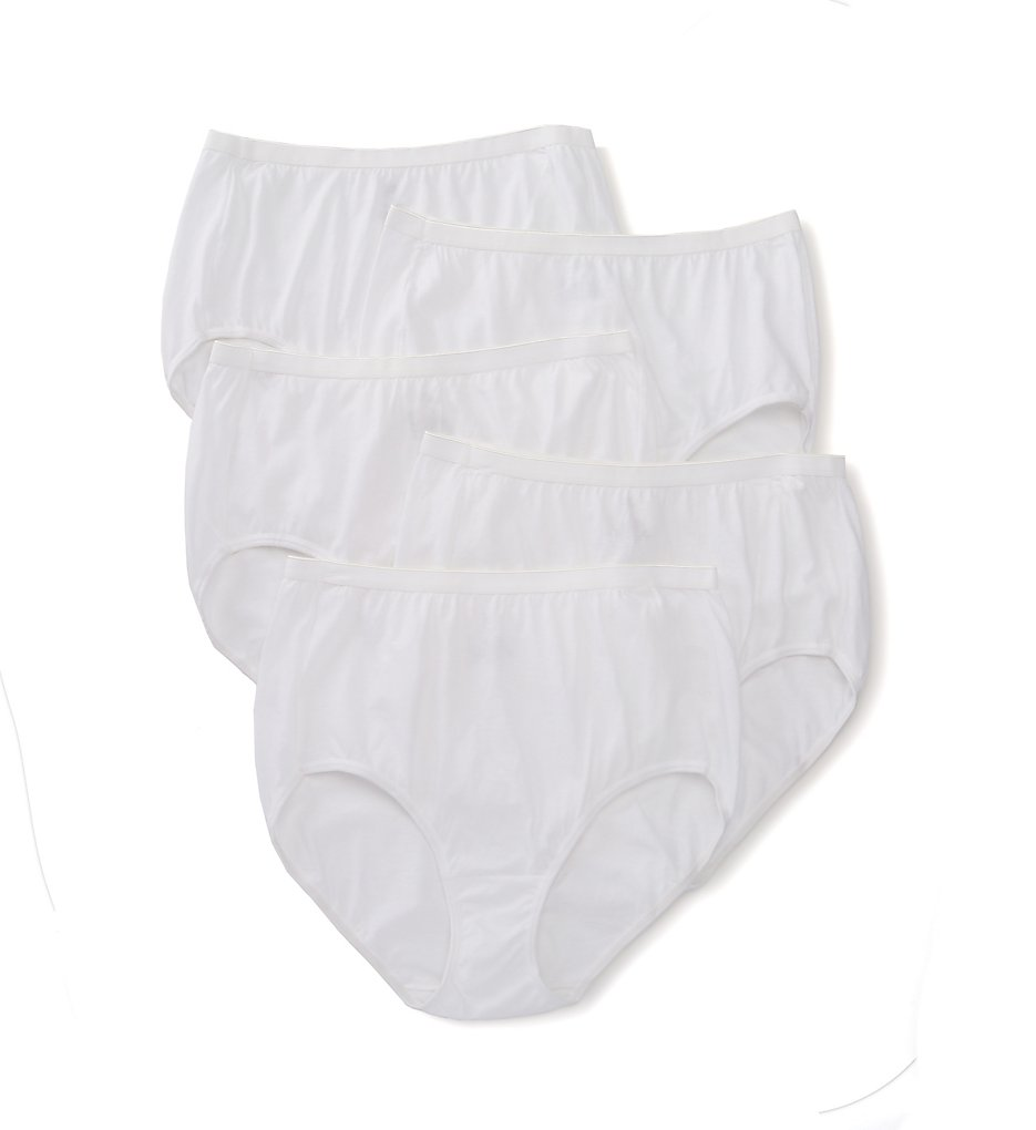 Just My Size - Just My Size 1610 Plus Size Cotton Brief Panty - 5 Pack (White 9)