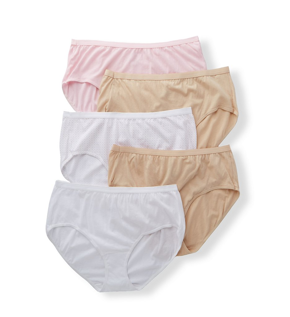 Just My Size - Just My Size 1610BA Breathable Cotton Cool Comfort Brief - 5 Pack (WhiteDotTaupePink 9)