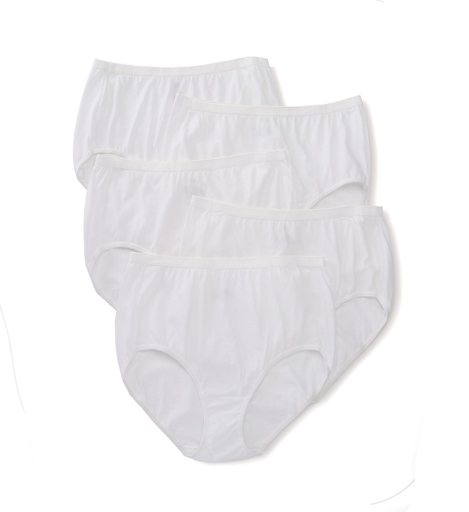 Just My Size - Just My Size 1610P5 Cool Comfort Cotton White Brief Panty - 5 Pack (White 9)