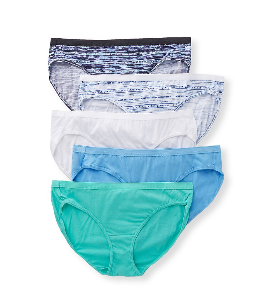 Just My Size - Just My Size 1612C5 Cool Comfort Cotton Assorted Bikini Panty - 5 Pack (Assorted 9)