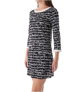 Kate Spade New York Long Sleeve Sleepshirt With Matching Eye Mask