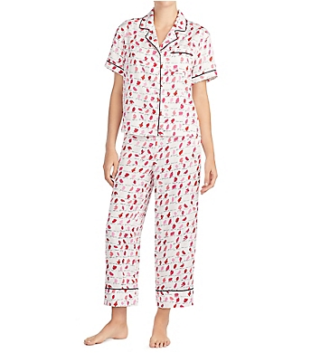 Kate Spade New York Lipsticks Charmeuse Cropped PJ Set