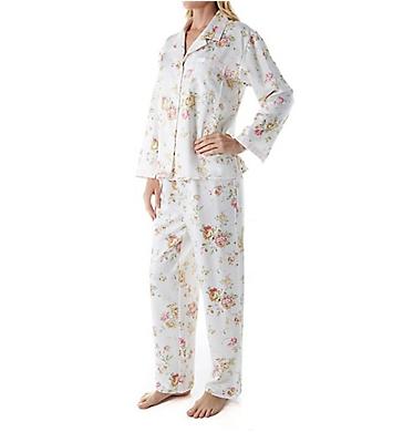 KayAnna Brushed Back Satin Floral Pajama Set