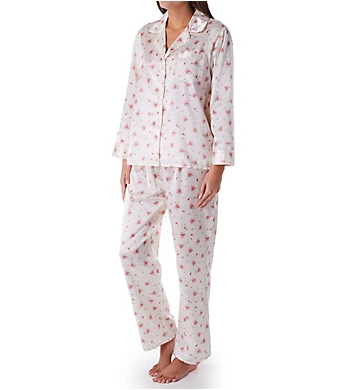 KayAnna Printed Brushed Back Satin Pajama Set