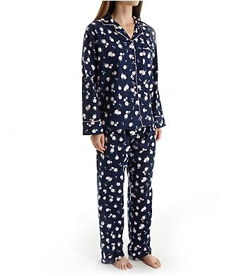 KayAnna Blue Ditsy Flannel Pajama Set