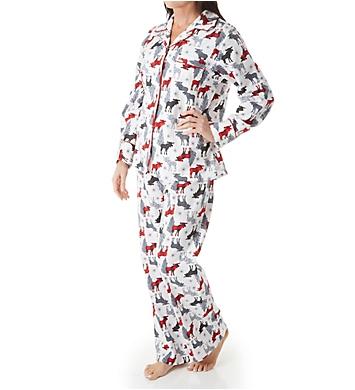 KayAnna Printed White Moose Flannel Novelty Pajama Set F15175W ... c8226128f