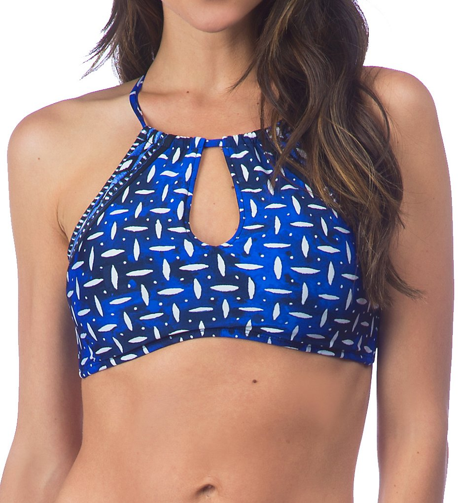 La Blanca LB7BF74 Daily Grind High Neck Keyhole Front Swim Top (Sapphire)