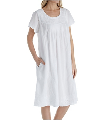 La Cera 100% Cotton Woven Cap Sleeve Embroidered Nightgown
