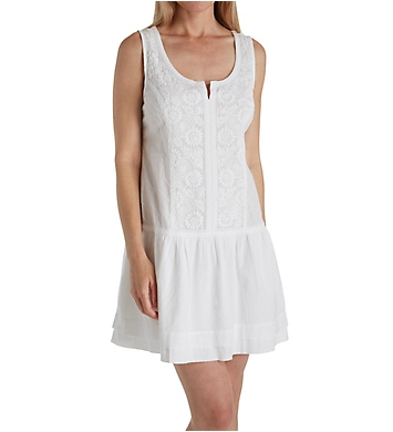 La Cera 100% Cotton Sleeveless Floral Embroidered Chemise