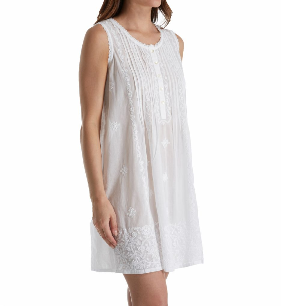 La Cera 100% Cotton Sleeveless Embroidered Gown