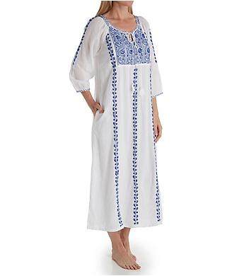 La Cera 100% Cotton Embroidered Caftan