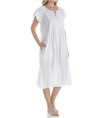 La Cera 100% Cotton Woven Cap Sleeve Embroidered Gown