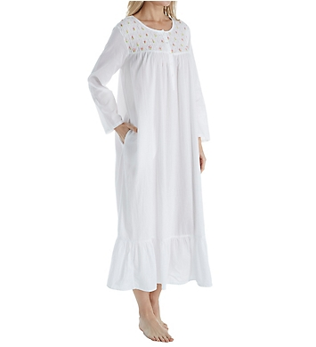 La Cera 100% Cotton Woven Rosebud Long Sleeve Long Gown
