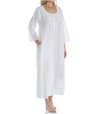 La Cera 100% Cotton Woven 3/4 Sleeve Long Gown
