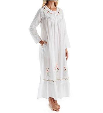 La Cera 100% Cotton Woven Long Sleeve Long Gown