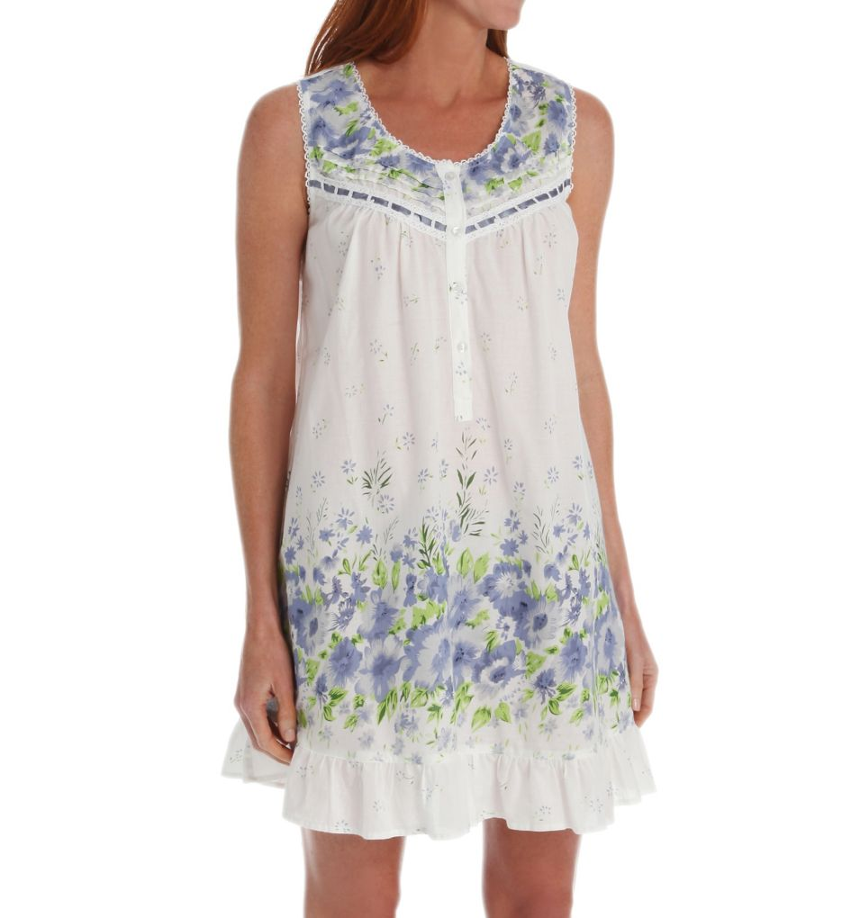 La Cera Cotton Lawn Sleeveless Chemise With Pockets