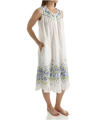 La Cera 100% Cotton Woven Sleeveless Border Print Gown
