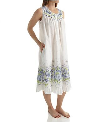 La Cera 100% Cotton Woven Sleeveless Border Print Gown