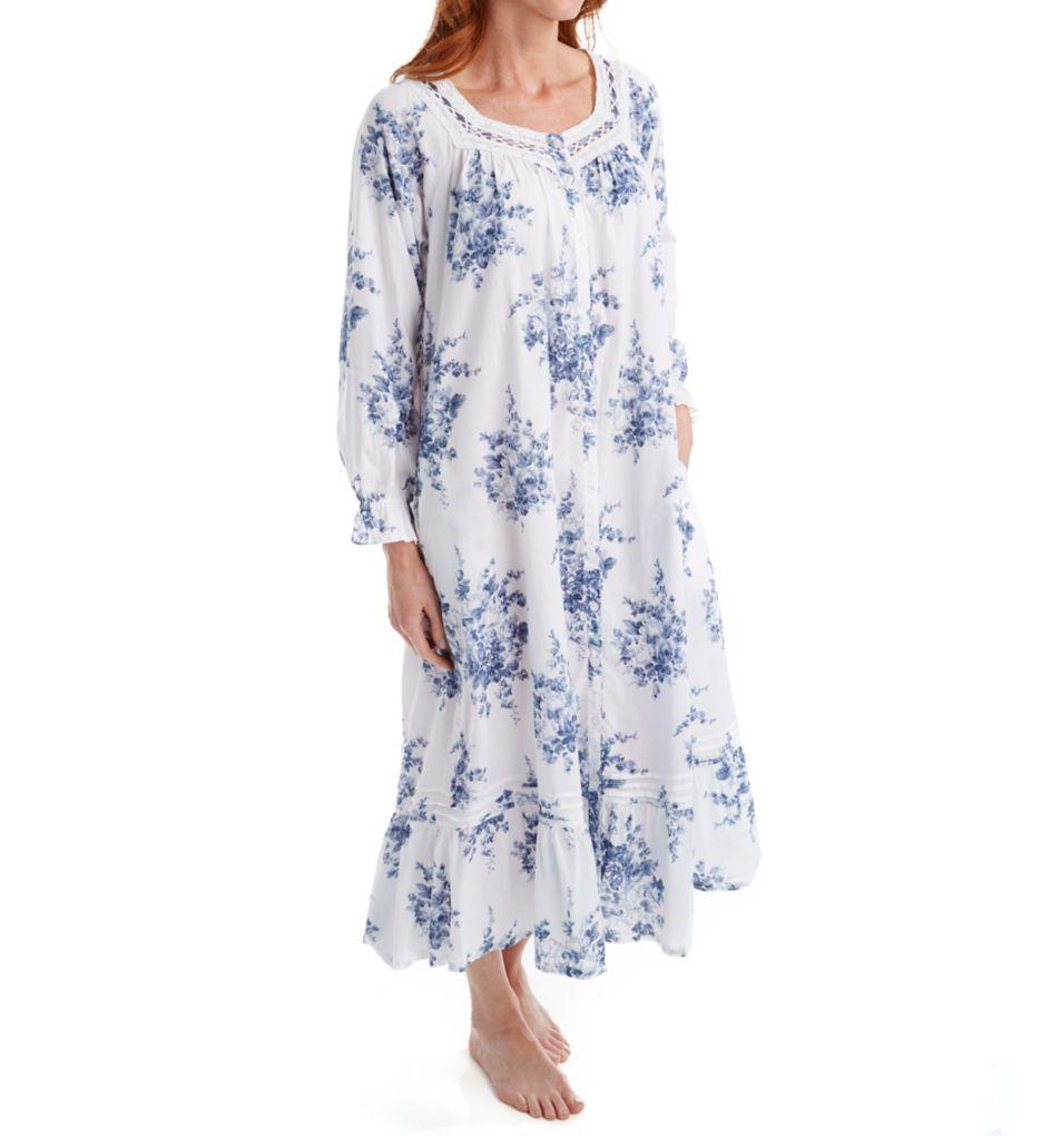 La Cera 100% Cotton Printed Floral Button Front Robe